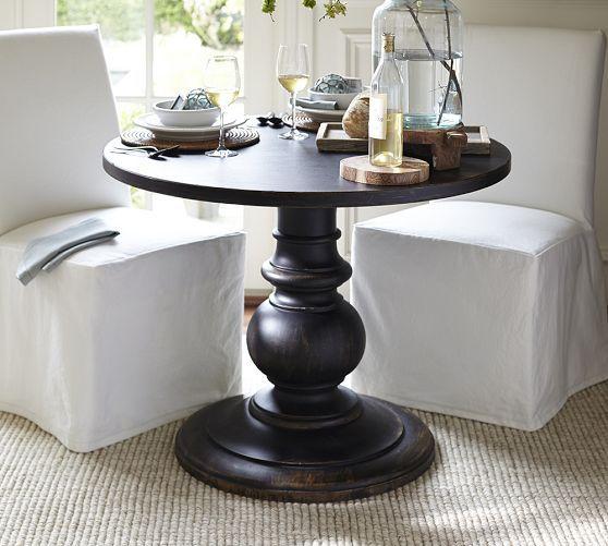 dawson pedestal side table pottery barn 40 d x 30 h. Black Bedroom Furniture Sets. Home Design Ideas
