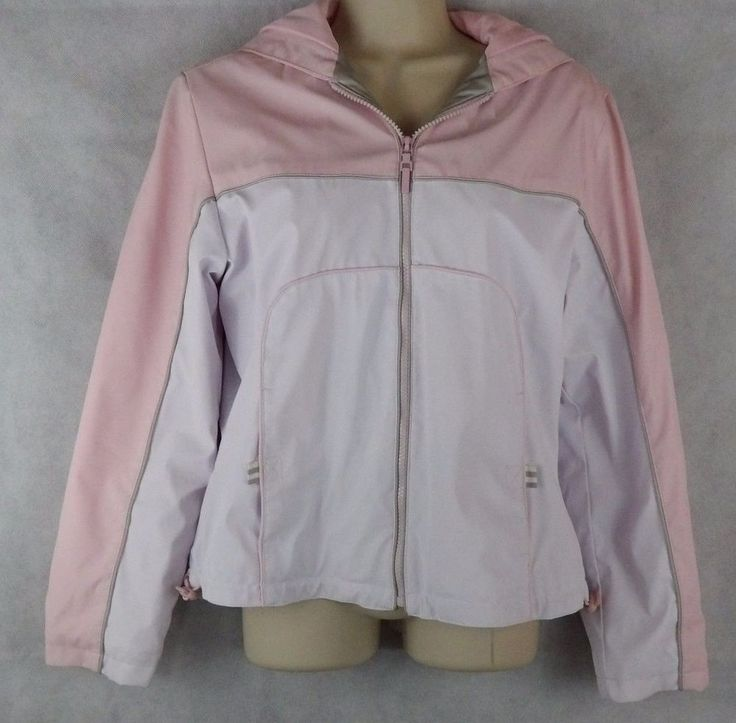 Hypo Active Pink/White/Gray Woman's Coat Attached Hood Size S Small #HypoActive #BasicCoat