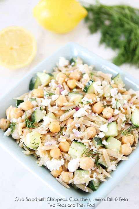 Orzo Salad with Chickpeas, Cucumbers, Lemon, Dill, & Feta Recipe on twopeasandtheirpod.com A light, simple, and healthy salad! #salad #vegetarian