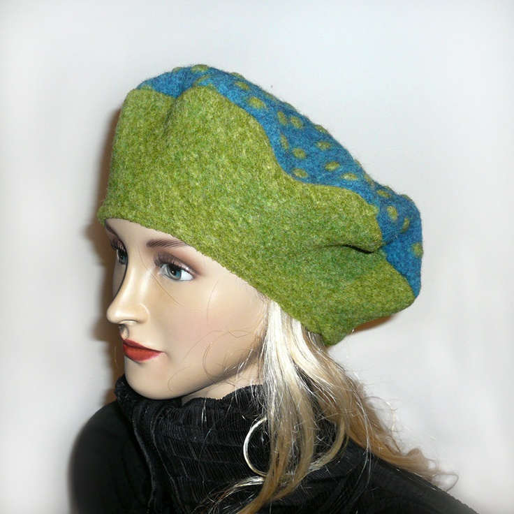 Blue olive green polka dot fall and winter cap, hat, beret, soft felted wool mixture with felted pompoms. $39.00, via Etsy.