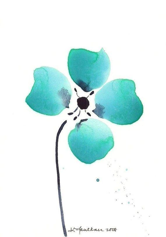 Abstract Watercolor Flower Art Print: Aqua Loves Indigo