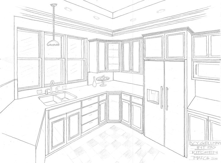 How To Draw One Point Perspective Kitchen With Furniture Desk Pertaining To Kitchen Drawing