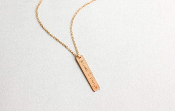Personalized Vertical Bar Necklace Hanging Bar Name Pendant