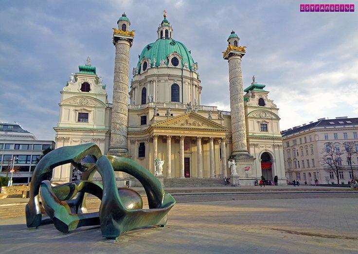 Igreja St Charles - Viena. Fizemos um post contando nossa experiência de 2 dias em Viena, na Áustria. Roteiro com dica de atrações, passeios e preços!