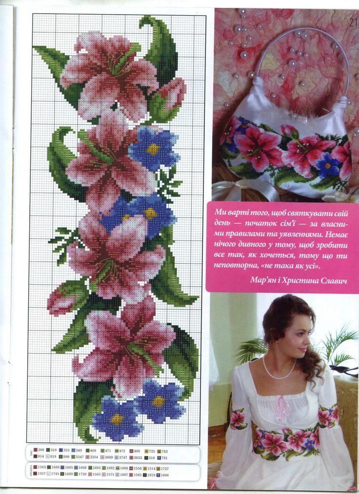 Cross-stitch Lillies Border