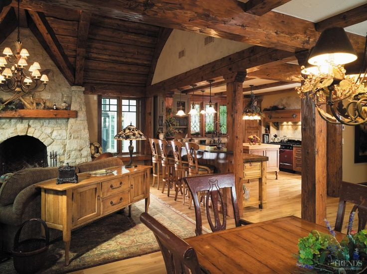This interior's rustic appearance implies an evolved history. The eclectic design is by architect Kent DeReus.