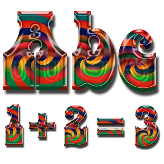 Rainbow Psychedelic Alpha - select your letters, numbers, punctuation and math symbols