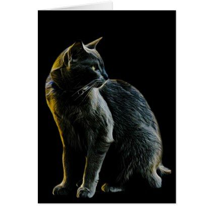 Russian Blue Cat Sitting Up Profile Card Photography Gifts Diy