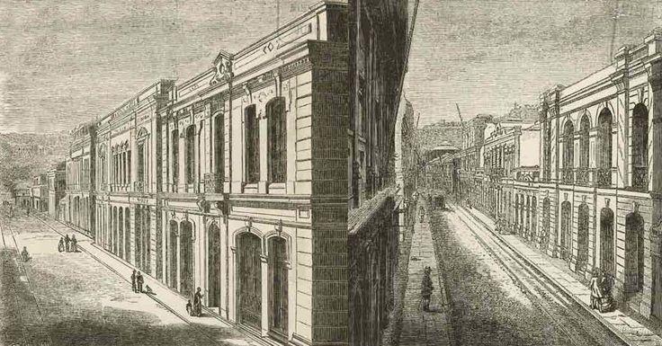 Las dos veredas de la calle de La Planchada, que reflejan la suntuosidad con que fue reconstruida luego del bombardeo de la Armada Española, durante la Guerra de 1866. Grabados en Chile Ilustrado de Recaredo Tornero, 1872.   --- Brugmannrestauradores.blogspot