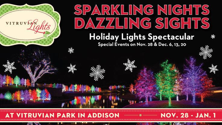 Addison Vitruvian Park Lights Holiday Texas Check Rainbow Colored Trees