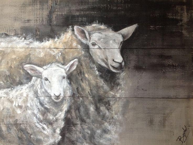Dieren op hout schapen schilderij dieren op steigerhout Sheep on wood www.boxart.be