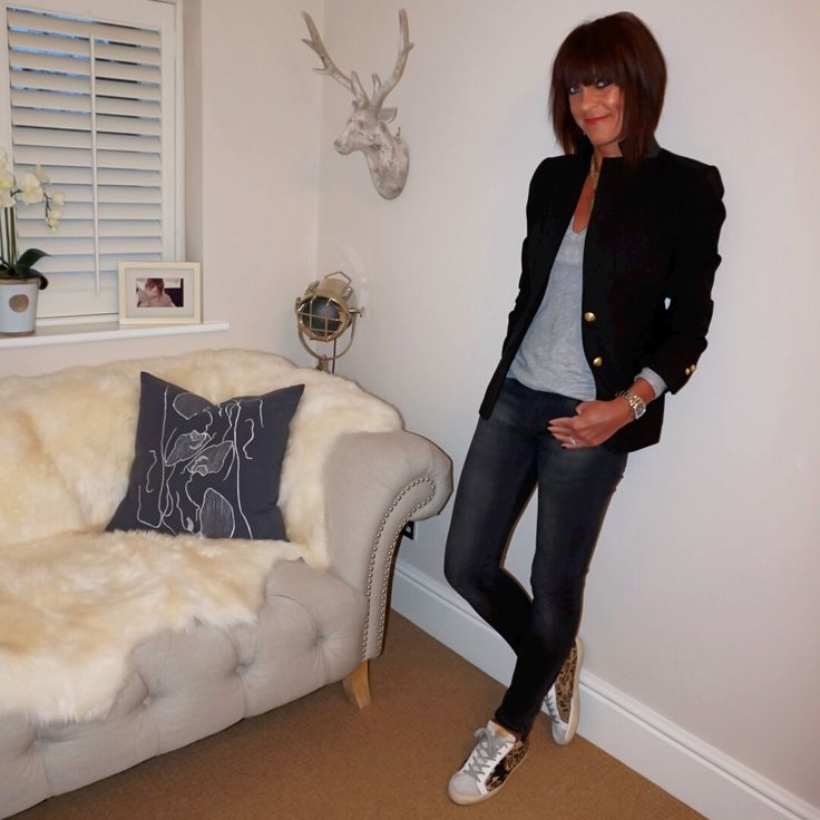 Classic black blazer with brass buttons, grey marl tee & faded black skinny jeans & leopard print trainers