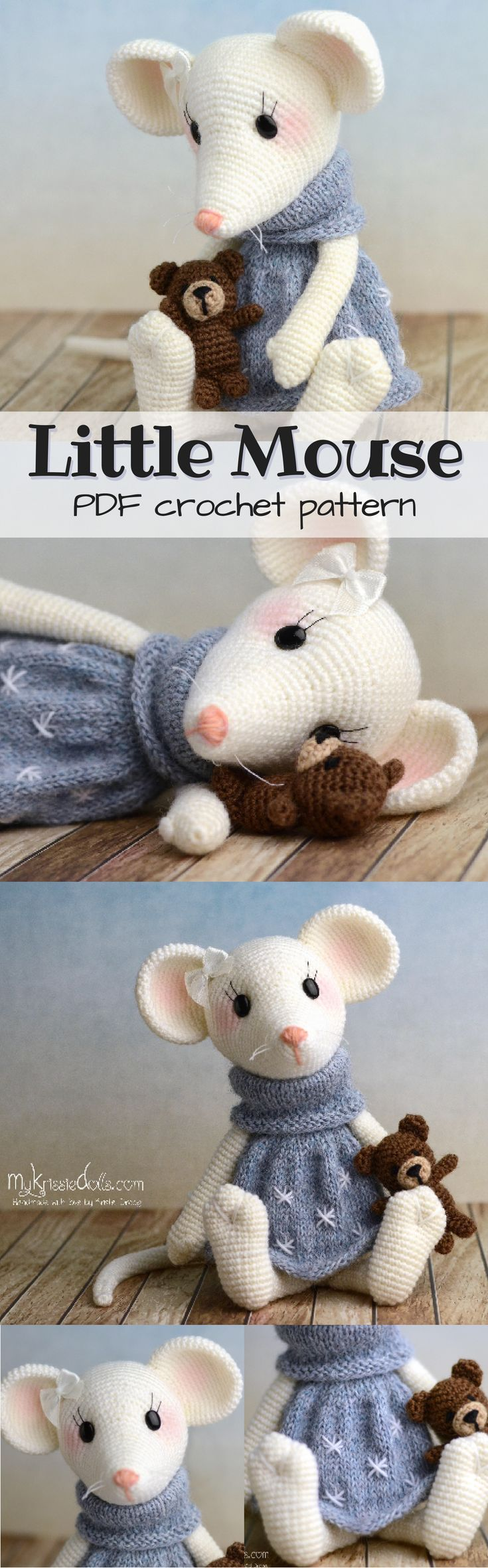 Adorable little mouse amigurumi toy crochet pattern to make for kids. Such a sweet little pattern to crochet. I love making little stuffed animals; they make the perfect handmade gift! #etsy #ad #pdf #instant #download #crochet #pattern #doll