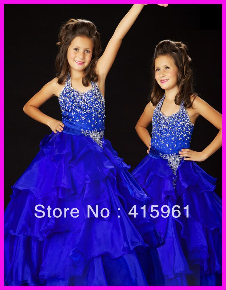 Aliexpress.com : Buy Royal Blue Halter Beaded Tiered Organza Ball Gown Pageant Dresses Flower Girl Dress F065 from Reliable Flower Girl Dress suppliers on Amazing Dresses Store $118.00