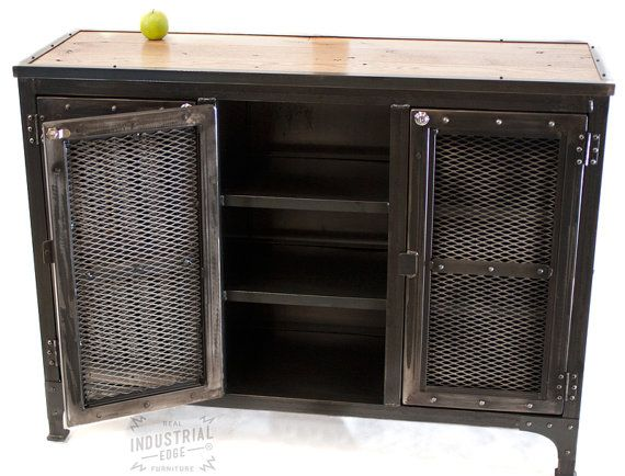 Reclaimed Wood Steel Custom Industrial Locking Cabinet