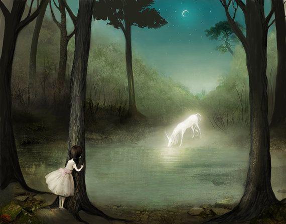 No One  - Unicorn art landscape art- unicorn print, girl and unicorn, girls room, fantastic creature childrens poster  - Lisa Falzon