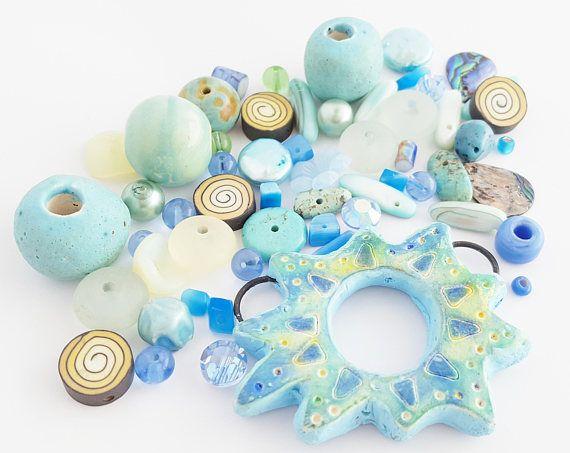 Turquoise gele kralen Mix  DIY sieraden Kit  Zwevende kralen