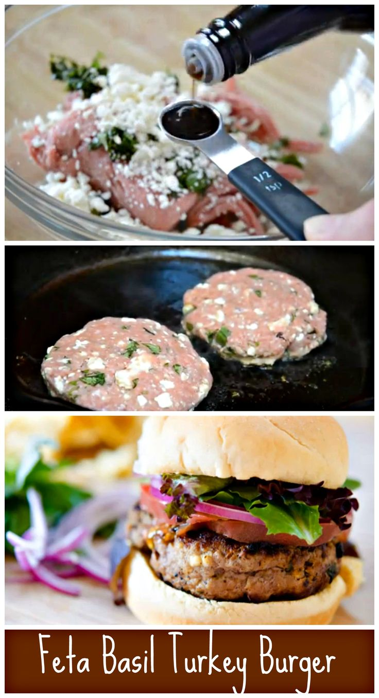 Mix ground turkey with a few fun flavors and throw it on the grill or in a skillet and you have these delicious Feta Basil Turkey Burgers (will try with extra lean turkey)