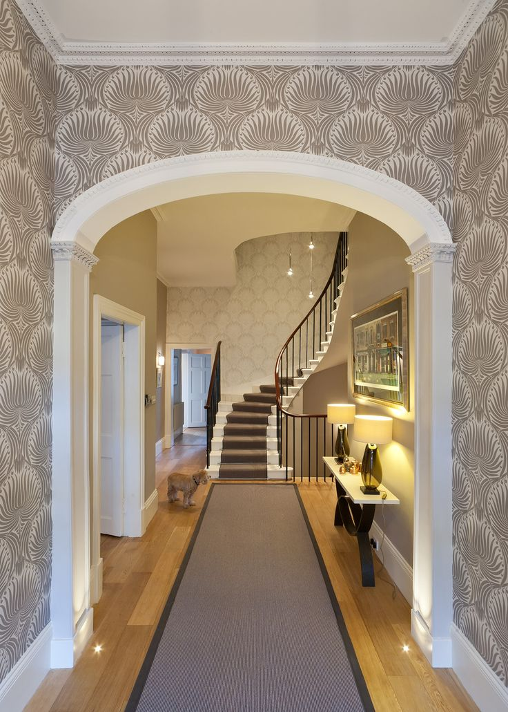 Helen Lucas Architects Edinburgh  wall paper, runner, stairwell, stairwell lights