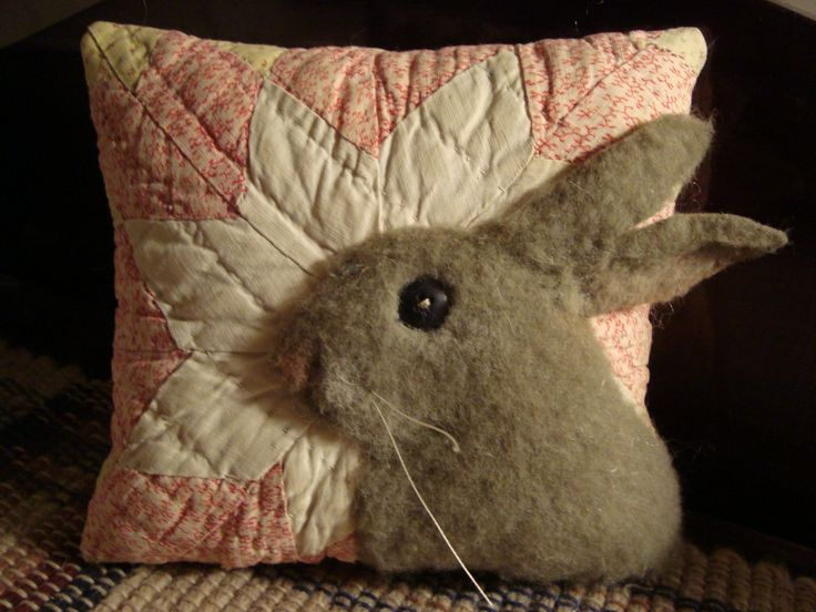 Old Quilt Rabbit Pillow