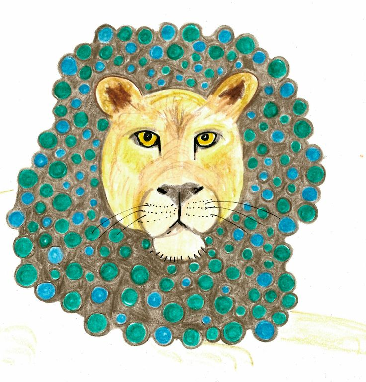 Lion. Drawing with colored pencils, ink and watercolor-pencils by Marlene Jørgensen.