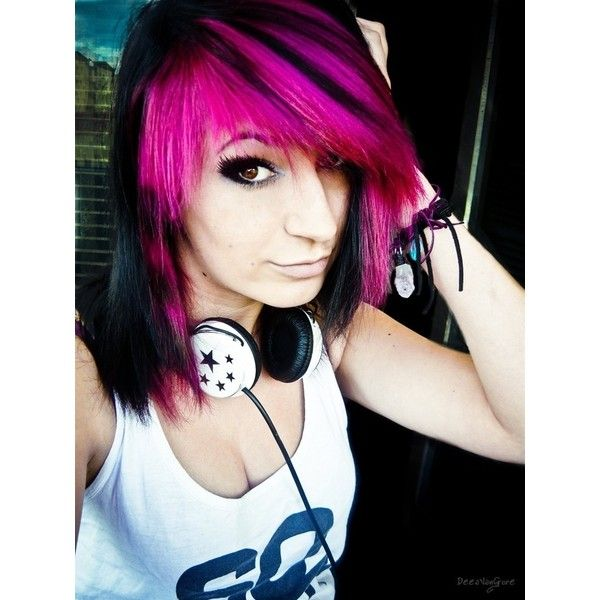 Scene ❤ liked on Polyvore featuring hair, girls, people, pictures and colored hair
