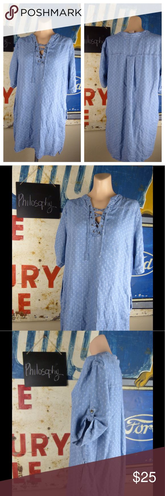 "Philosophy Polka Dot Chambray Dress Size XL Excellent condition.  Tencel.  34"" length.  23"" side to side at the under arm. Philosophy Dresses"