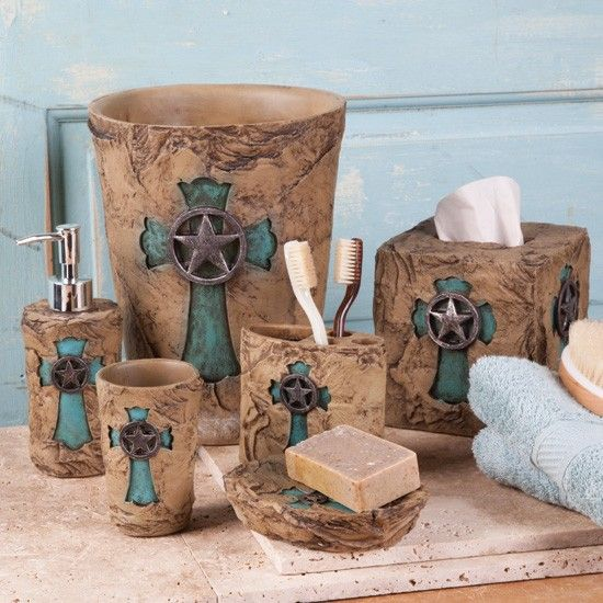 Turquoise cross bath essentials western bathroom for Turquoise and brown bathroom decor