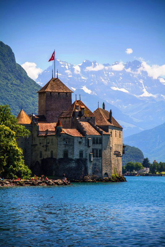 Chillon Castle, Montreux, Lake Geneva, Switzerland. Been there many times. Sadly, cheaper to retire in Pam Springs. However, if I ever win the lotto...