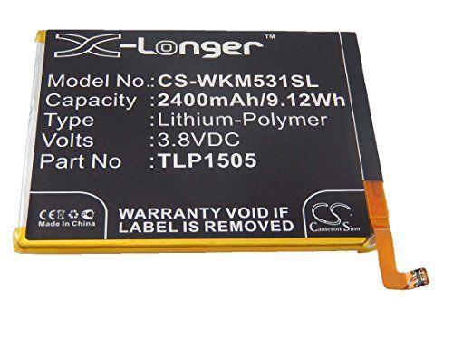 cool vhbw Li-Polymer batería 2400mAh (3.8V) para teléfono móvil Smartphone Wiko M531, Ridge, Ridge 4G, Ridge Dual Sim LTE por TLP1505.