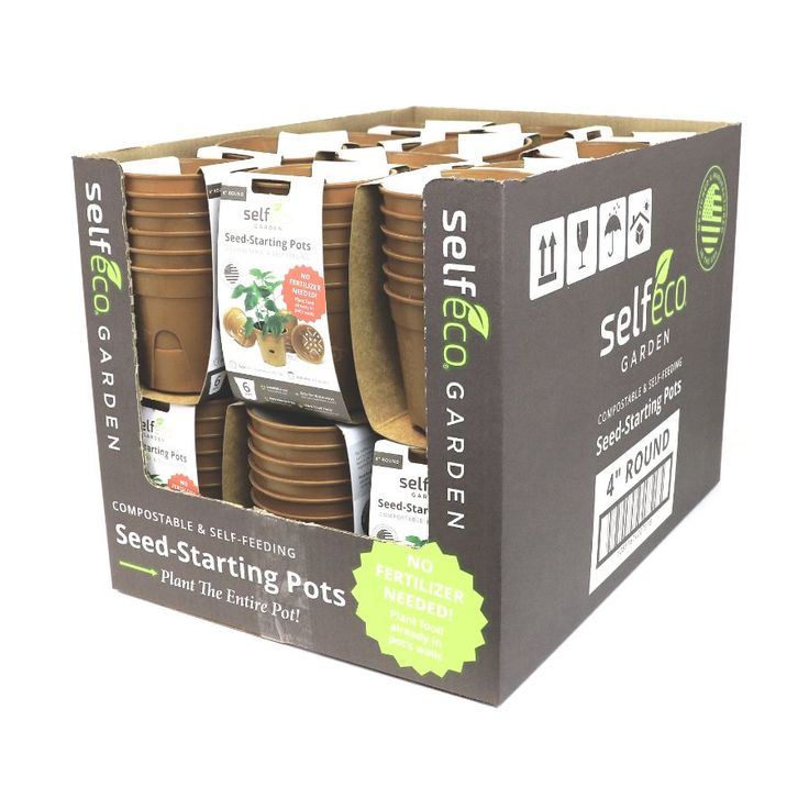 """4"""" Round - Compostable Seed Starting Garden Pots - Retail Display Case (24 x 6-Packs)"""