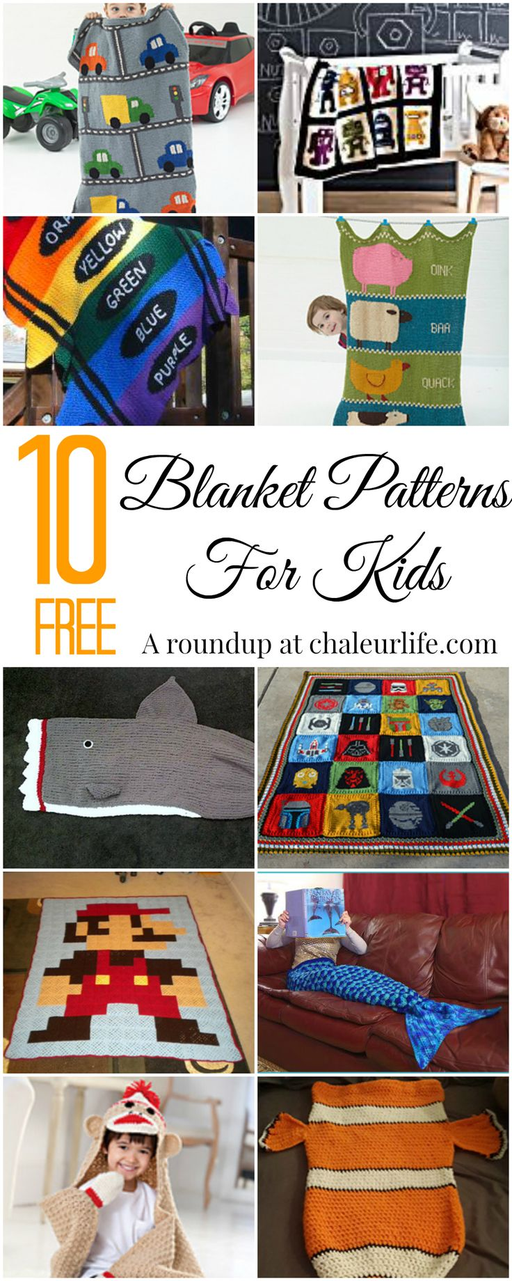 10 Free Blanket Patterns Your Kids Will Love. Looking for a shark blanket? A mermaid tail? Maybe something different? Here is a collection of free patterns you kids will love!