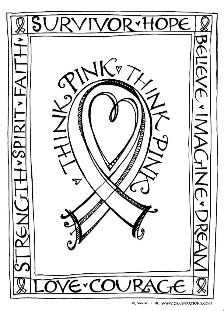 Zenspirations blog think pink free downloadable for Cancer ribbon coloring page