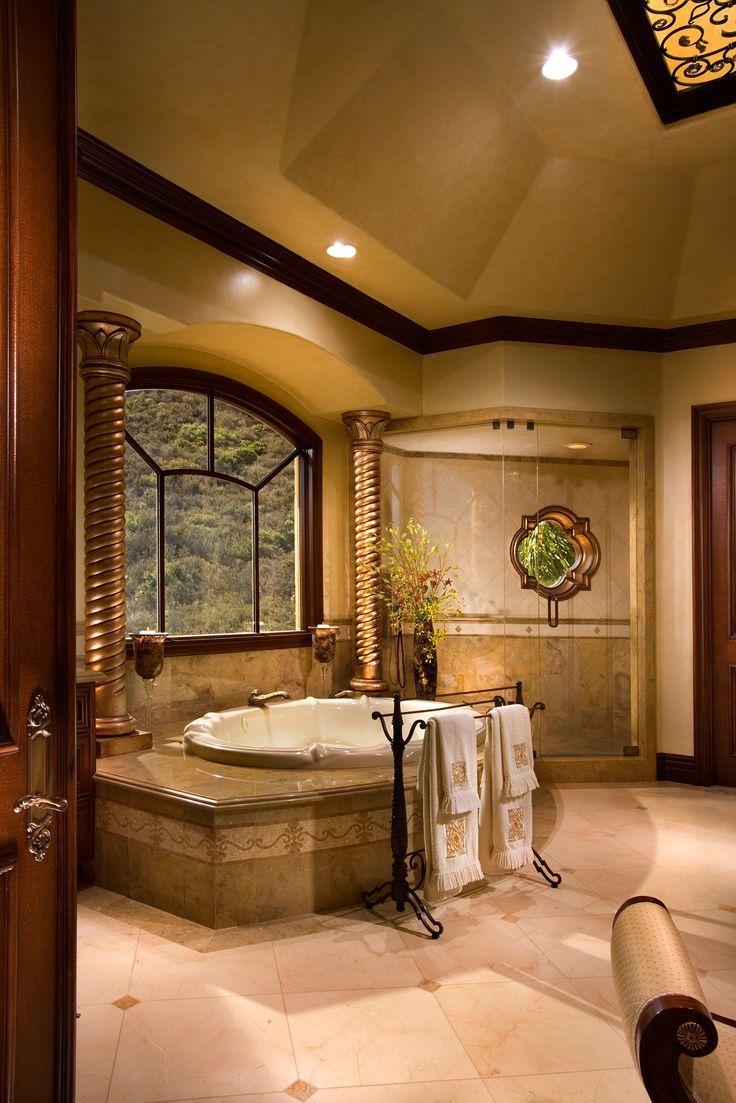 Beautiful foyer floor designs for tuscan homes john b for Bathroom ideas luxury