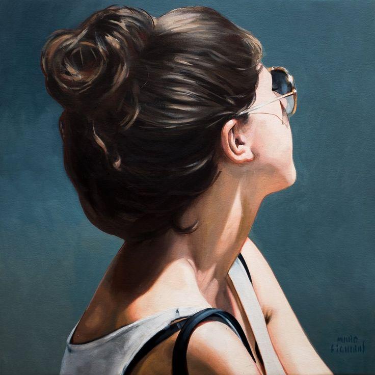 Artist: Marc Figueras (b. 1981), oil on canvas {female head profile portrait painting} marcfigueras.blogspot.com