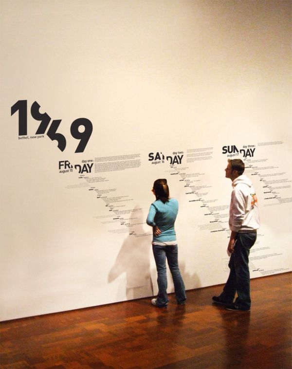 Woodstock 1969, Experimental Typographic Timeline. #exhibit
