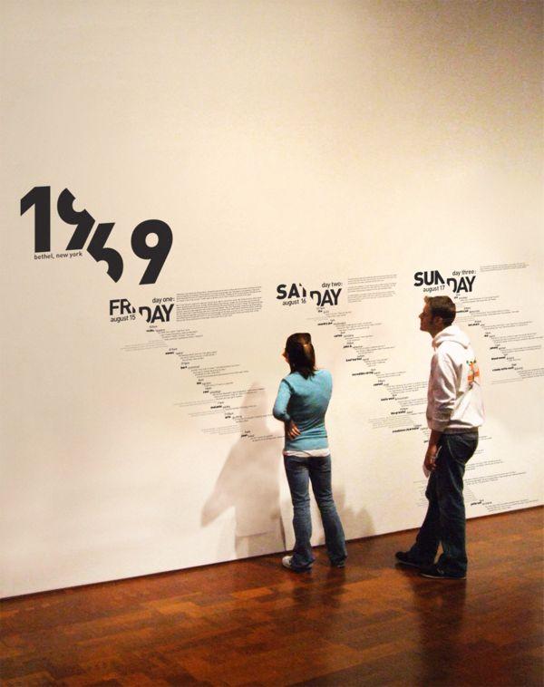 Woodstock 1969, Experimental Typographic Timeline. #exhibit Me recuerda Marius de Zayas...