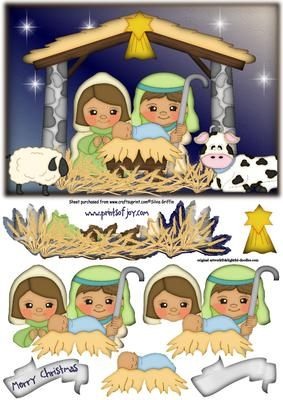Cute Nativity with Animals SBS on Craftsuprint designed by Silvia Griffin - Precious nativity with baby Jesus,stable and animals. Easy cutting lines. Will look just grand when finished.  - Now available for download!
