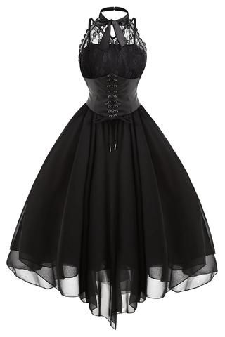 Black Gothic With Corset Dress #CorsetDress #Gothic