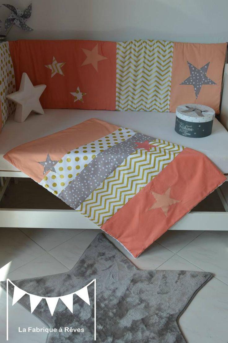 couverture bébé fille abricot corail doré gris étoiles chevron pois polaire Minky blanc
