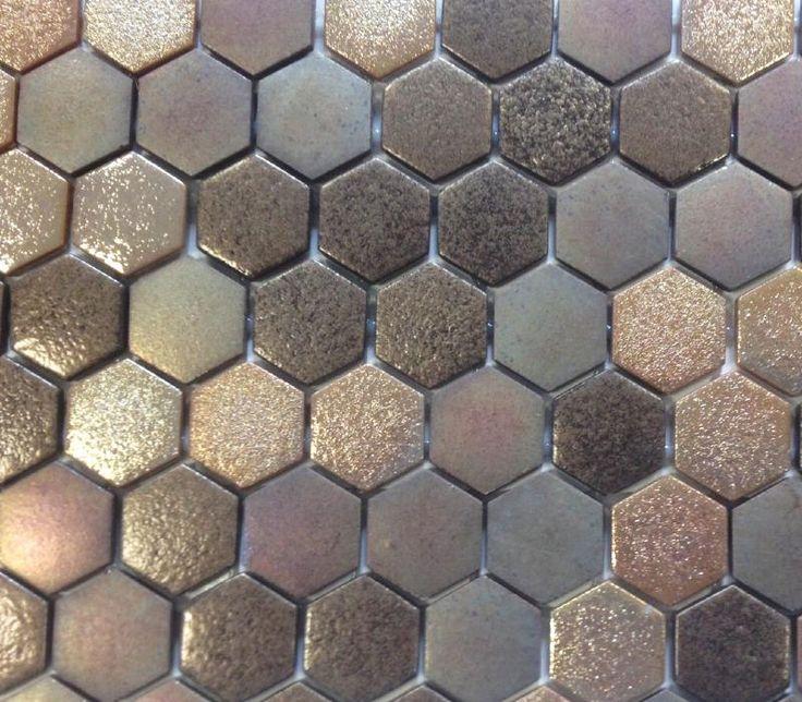Mosaïque pâte de verre hexagone brun cuivre plaque - Achat de ...