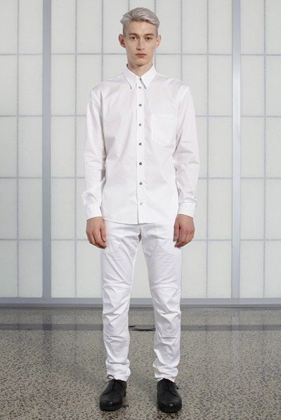 s/s 13/14 mens key looks - M04. print shirt in soap, motorcycle trouser in white.