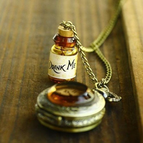 Drink Me Bottle and Victorian Style Pocket Watch Necklace - Copper Colored Stainless Steel - Cute Working Watch - Long Chain
