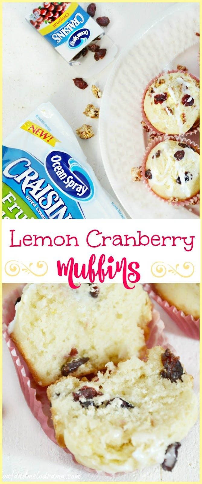 Lemon Cranberry Muffins  topped with a light lemon glaze AD #BetterWithCraisins
