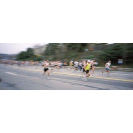 Marathon runners on a road Boston Marathon Washington Street Wellesley Norfolk County Massachusetts USA Canvas Art - Panoramic Images (18 x 7)