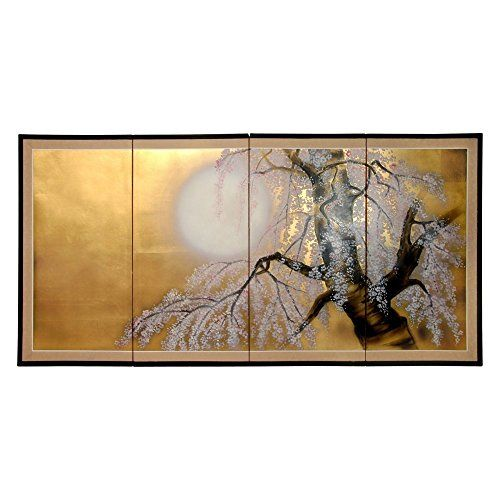 Oriental Furniture 36 in. Sakura Blossom Room Divider