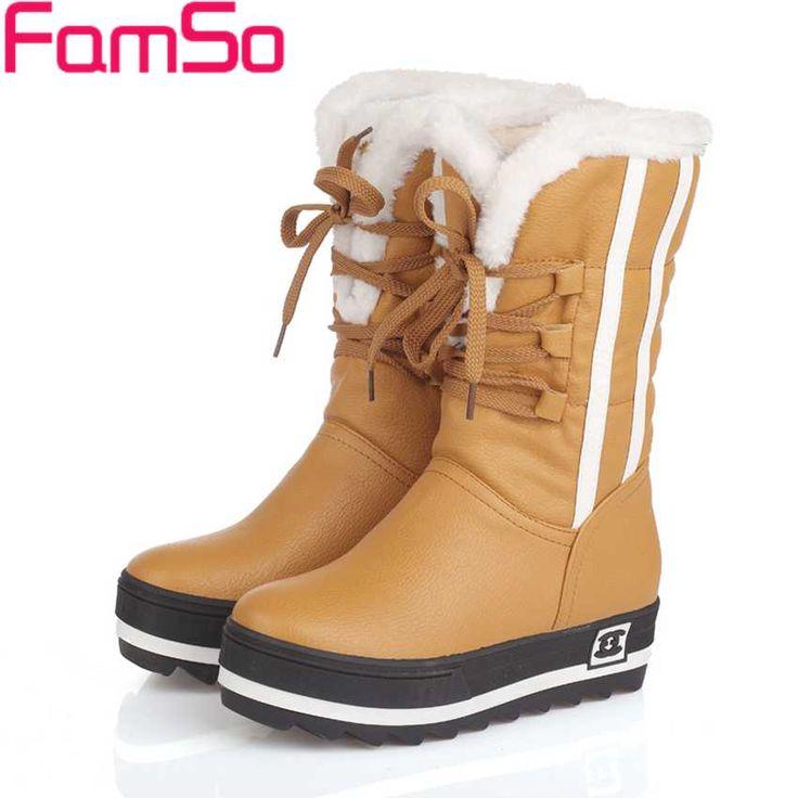 Plus Size34-43 2017 New Shoes Women Boots black Waterproof Platforms Shoes 4 Colors Winter Full Fur  Women's Snow Boots SBT1672