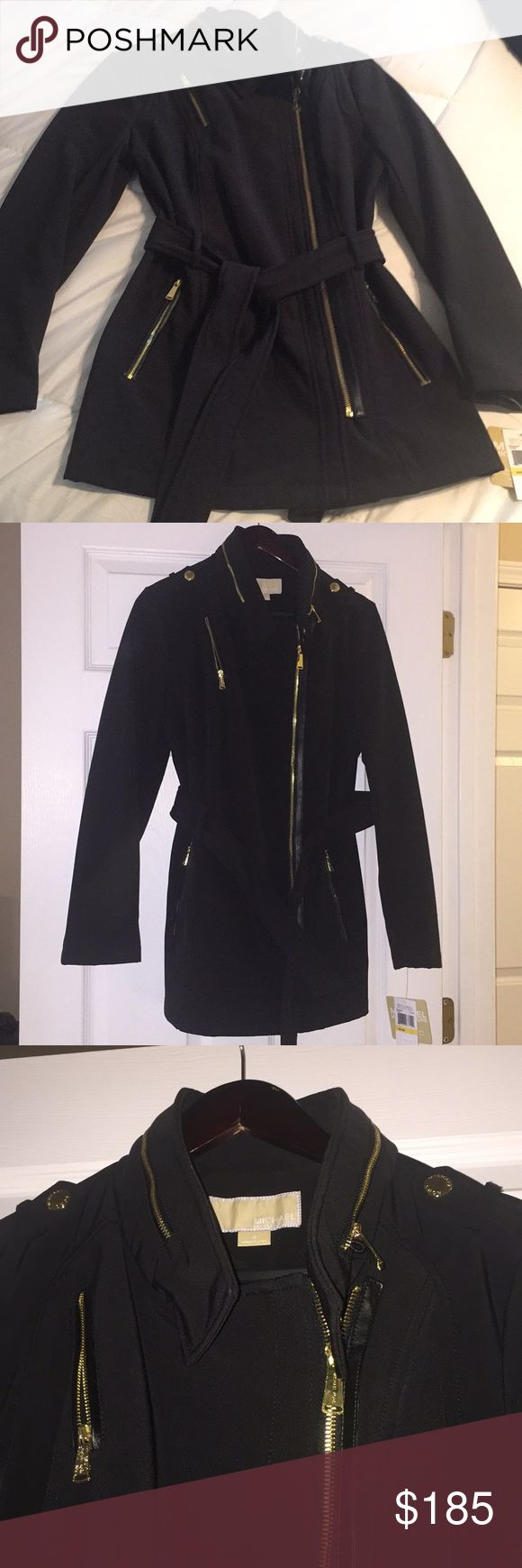 Michael Kors Black Water Resist Coat - Size M NWT Michaels Kors Black Pea Coat Water Resistant  New with Tags  Black with gold hardware  Size: Medium Michael Kors Jackets & Coats Pea Coats