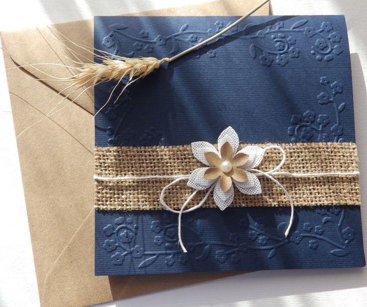 Handmade Wedding invitation/Rustic invitation/Burlap flower invitation/Blue navy invitation/Burlap wedding invitation/Country invitation by mirelaemilia on Etsy