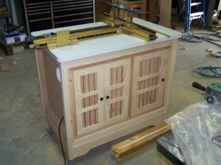"""Router Table by 559dustdesigns -- Homemade 42"""" height router table constructed around an Incra fence system and utilizing a Woodpeckers router lift. http://www.homemadetools.net/homemade-router-table-3"""
